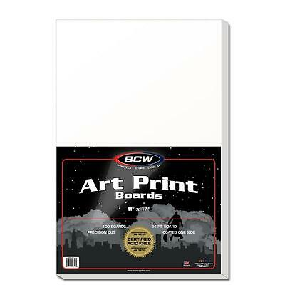 1 case (500)  BCW 11 x 17 Acid Free Art Print Backing Boards 11x17 White Backer