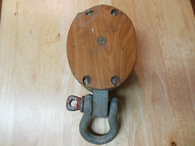 Vintage Antique Boston & Lockport Block co. Tackle Pulley 2 Wheels Bronze Bushed