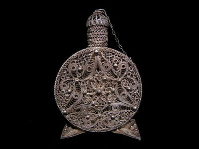 EXTREMELY RARE ANTIQUE Early 1900's  SILVER FILIGREE PERFUME CONTAINER!!!