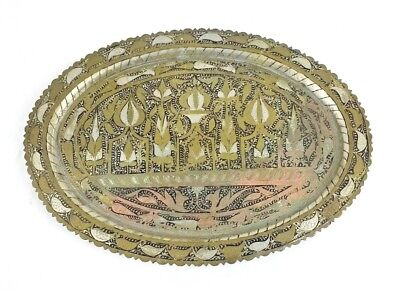 Vintage Hand Hammered Brass Platter Scroll Home Decor Plate Floral Tray