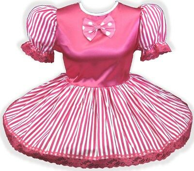 "46"" Hot Pink Satin Stripes Bow Adult Little Girl Baby Sissy Dress LEANNE"