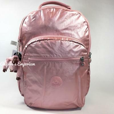 KIPLING SEOUL Backpack with Laptop Protection Icy Rose Metallic