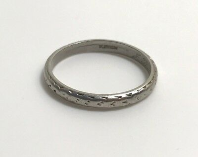 Antique Art Deco Platinum Stacking Band Ring Etched.