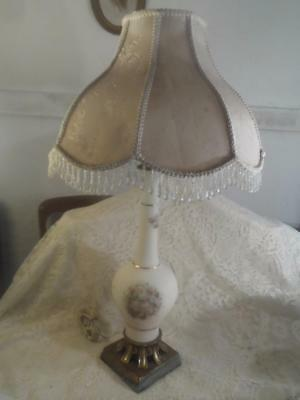 Vntg~Antq Satin Frosted Glass w/Painted Raised Flowers & Bronze Ftd.Boudoir Lamp