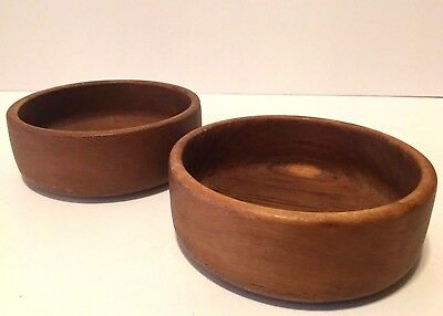 "Vintage Set Of 2 Teak Wood Salad/Nut Bowls 6"" Diameter"