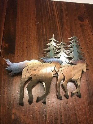 Metal wall sculpture, 2 horses with trees, good condition