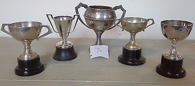 Superb collection of 5 vintage silver plate trophies, trophy, sporting trophies