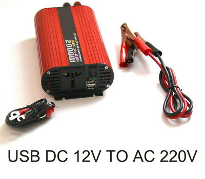 2000W Dual USB 12V to 220V Converter Switch Car Power Inverter Charger Red Oval