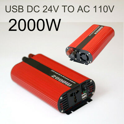 Dual USB Converter 24V to 110V Red Oval Switch Car Charger Power Inverter 2000W