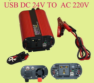 Red Oval 24V to 220V Power Inverter Switch 2000W Dual USB Converter Charger Car