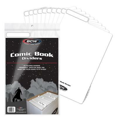 Case (300) BCW COMIC BOOK DIVIDERS-7 1/4 X 10 3/4 TABBED WHITE PLASTIC 1-CD-WHI