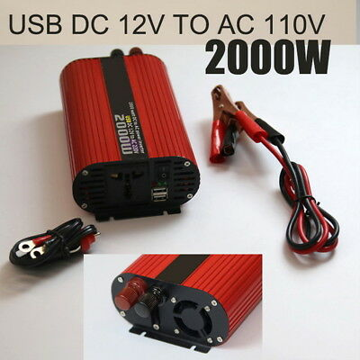Converter 12V to 110V Car 2000W Switch Charger Dual USB Red Oval Power Inverter
