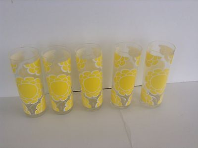 Lot Of 5 Vintage Mcm Colony Tumbler Glasses Flower 10 Oz.