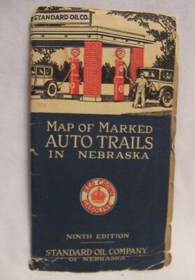 1929 Red Crown Gasoline Standard Oil Co. of Nebraska Auto Trails Fold Out Map