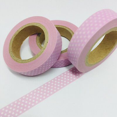 Washi Tape Thin Skinny Mini Polka Dots On Pink 10Mm X 10Mt Planner Craft Scrap