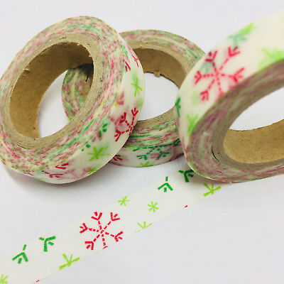 Washi Tape Thin Skinny Red/green Snowflakes 10M Wide X 10Mt Roll Plan Craft Wrap