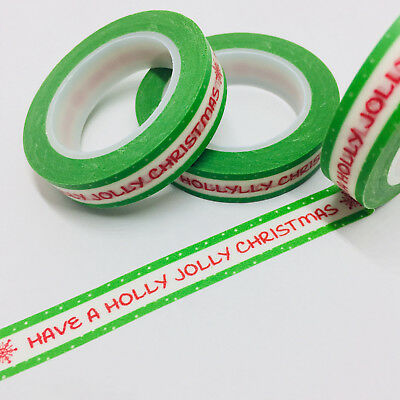 Washi Tape Thin Skinny Holly Jolly Christmas 10M Wide X 10Mt Planner Craft Wrap