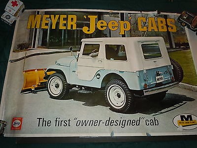 """1950's/60's Original Jeep Dealership Poster  For """"meyers Jeep Cabs""""  Cj5"""