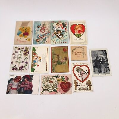 Antique Valentine Postcards - Early 1900's - Lot of 12