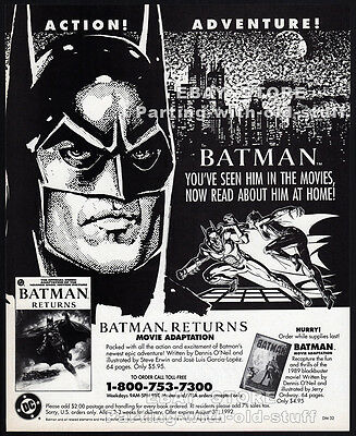 BATMAN RETURNS Movie Adaptation__Original 1992 print AD / advertisement promo