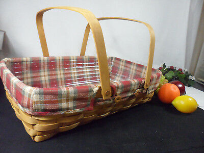 Longaberger  Medium Gathering Basket with Oak Park Liner & Protector