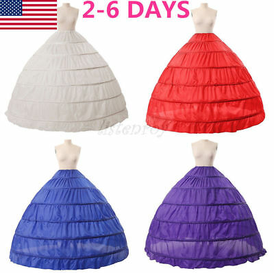 Women Crinoline Full A-Line 6 Hoop Floor-Length Bridal Dress Gown Slip Petticoat