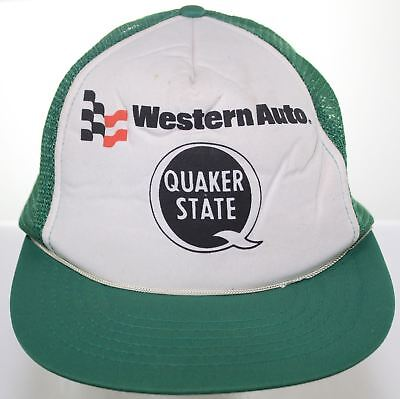 3f4087d750c Vintage Western Auto Quaker State Motor Oil Trucker Hat Snapback Cap Green  White