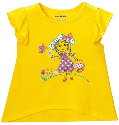 NWT Toddler 4T Max & Mini Flower Girl Butterfly Tee Yellow Glitter Summer Top
