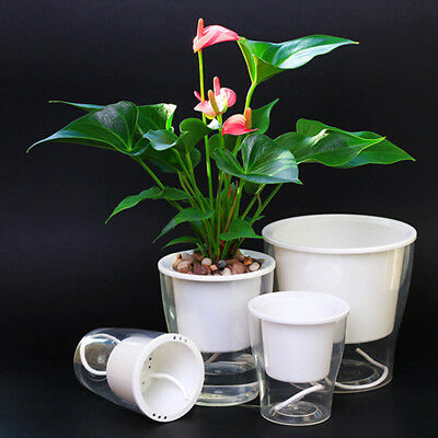 Auto Irrigate Flower Pot Vase Self-Watering Planter Lazy Planting Round Decor