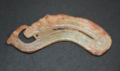 """Rare Chinese Shang Zhou Period Old Jade Carved Dragon """"Gua Jian"""" Pendant L 9.0cm"""