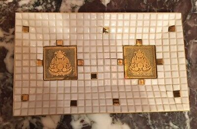 Fabulous GEORGES BRIARD Mid-Century Mosiac Tile Tray-Plate; white & gold, SIGNED