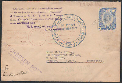 Tonga - 1938 Tin Can Mail  Cover Addressed To Sydney - Multiple Cachet