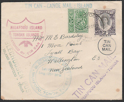 1937 - Tonga Tin Can Mail Cover Addressed To Nz