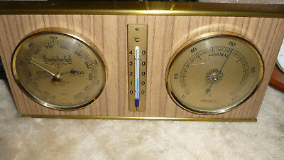 Wetterstation Thermometer Barometer Hydrometer Holz Metall