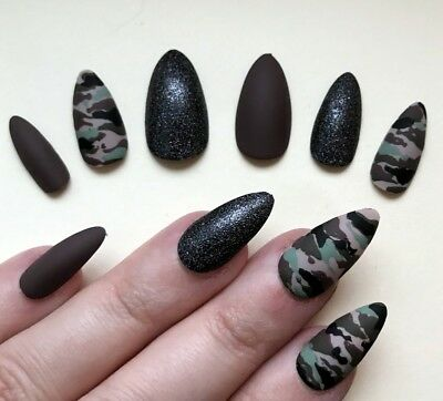 Painted False Nails STILETTO (Any) Army Girl Dress Up Camouflage Matte Brown UK