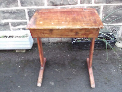 Vintage wooden school desk lift top lid with ink well hole