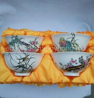 Four beautifully painted flowers and birds collection of Chinese porcelain bowl
