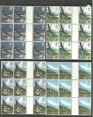 Great Britain 1979 Flowers Block of 9 with 3Gutter Pairs  MNH