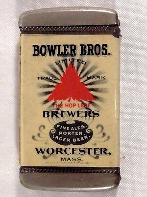Pre Prohibition Bowler Bros. Brewers Advertising Match Safe Breweriana Worcester
