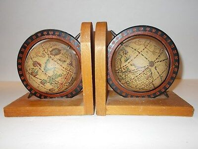 Vintage Pair SPINNING OLD WORLD GLOBE BOOKENDS Wood Base Excellent Condition!