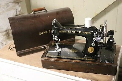 Vintage Singer Sewing Machine With Case With Light