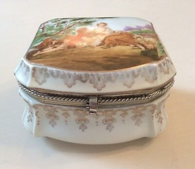 Vintage Hand Painted Trinket Box Victorian Couple Scene Ardalt Lenwile China