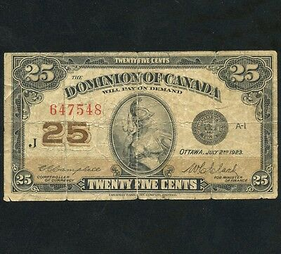 1923 Dominion Of Canada 25 Cent ( Shinplaster ) Bank Note S/N J 647548
