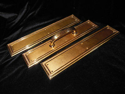 Antique Victorian Federal Style Bronze Door Push and Pull Faceplate Set of 3