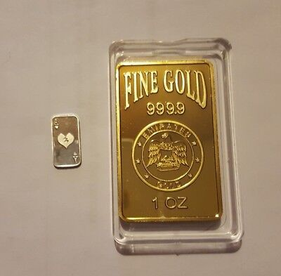 ONE OUNCE FINE GOLD 99.9 GOLD LAYERED  BAR plus 1 gram 999 silver bar