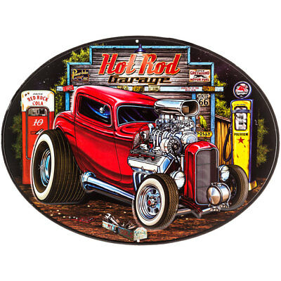 Hot Rod Rat Rods Oval Gas Pump and Polish Garage Vintage style Metal Sign Coupe
