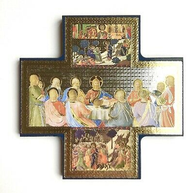 """Jesus / Last Supper - 6"""" Wooden Icon / Cross - Gold & Silver Highlights"""