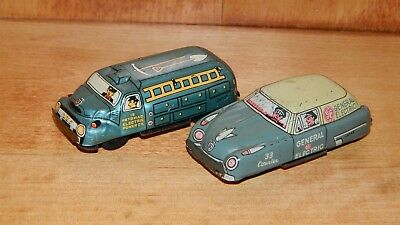 2 Vint. TIN LITHO CARS Line Mar Toys FRICTION Potomac Power GENERAL ELEC. Japan