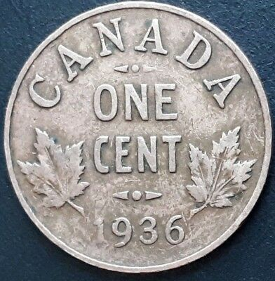 CANADA 1936 CANADIAN 1 One Cent George V COIN.