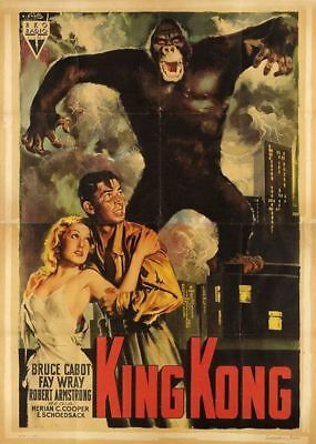 KING KONG 1933 movie poster 55x79 RKO FAY WRAY , BRUCE CABOT  horror affiche